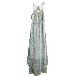 AEO pink green floral chiffon halter maxi dress